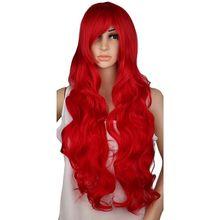 QQXCAIW длинные волнистый парик для косплея костюм вечерние красного, розового и серебристого цвета серый блондин черный 70 см Температура синт...
