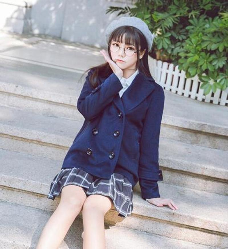 Women's Double Breasted Lapel Loose Outwears Overcoat Formal Size Japanese Uniform Coat