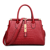2016 Women Crocodile Leather Bag Fashion Real Genuine Leather Handbags Woman Vintage Hand Bag Brands Ladies
