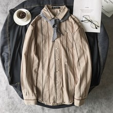Harajuku Fashion Casual Cotton Turn Down Collar Loose Men Camisa 2018 Autumn Korean Style Stripe Long Sleeve Male Shirt M-2XL цена