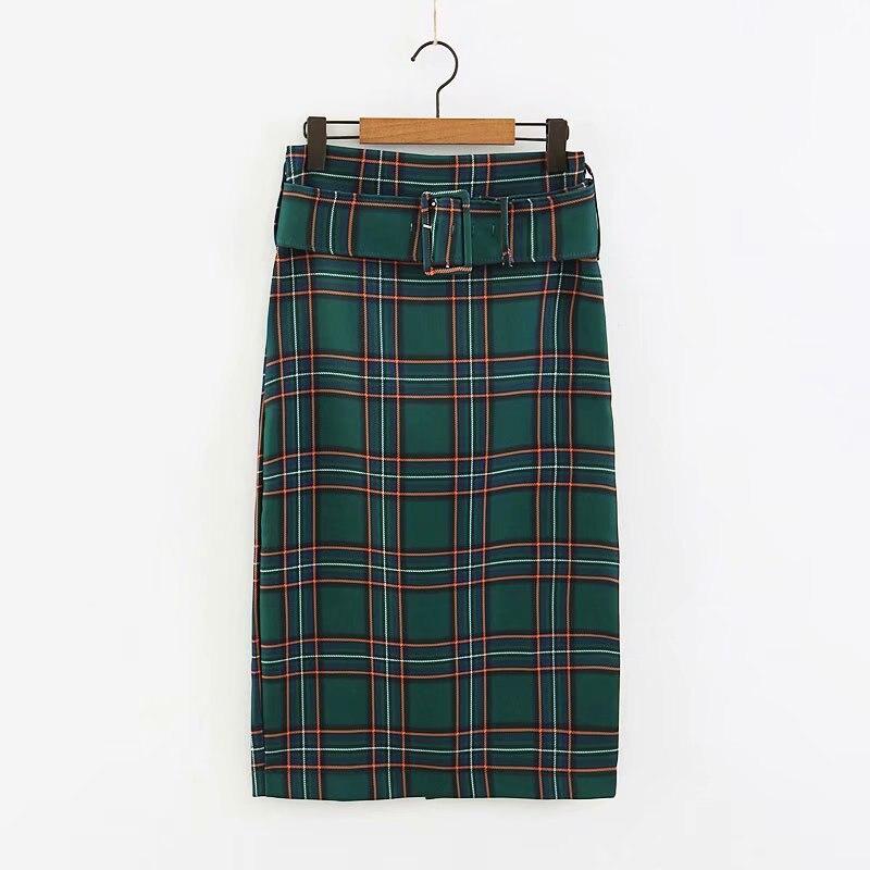 d72e5c040 2018 New Women green checked plaid print straight midi skirt ladies fashion  back zipper sashes casual