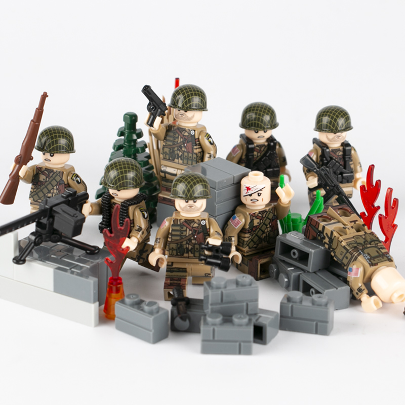 Military WW2 Army Soldiers Building Block World War II USA Weapon Model 101st Figures Parts Accessories Bricks Toys For Children