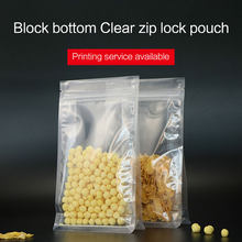 block bottom stand up pouch with zipper clear plastic laminated zip lock flat bottom quad seal rice seed food packaging bag(China)
