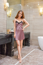 Women Sexy Lace Satin Sleepwear