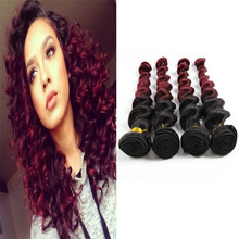 Peruvian Virgin Hair Loose Wave Ombre 1B Burgundy Peruvian Hair Extension 10″-30″ Peruvian weave Bundles 4pcs/lot  DL411
