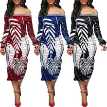GuyuEra Hot Sale New African dress for women Leaf pattern printed long sleeve one-shoulder dress S-XL(China)