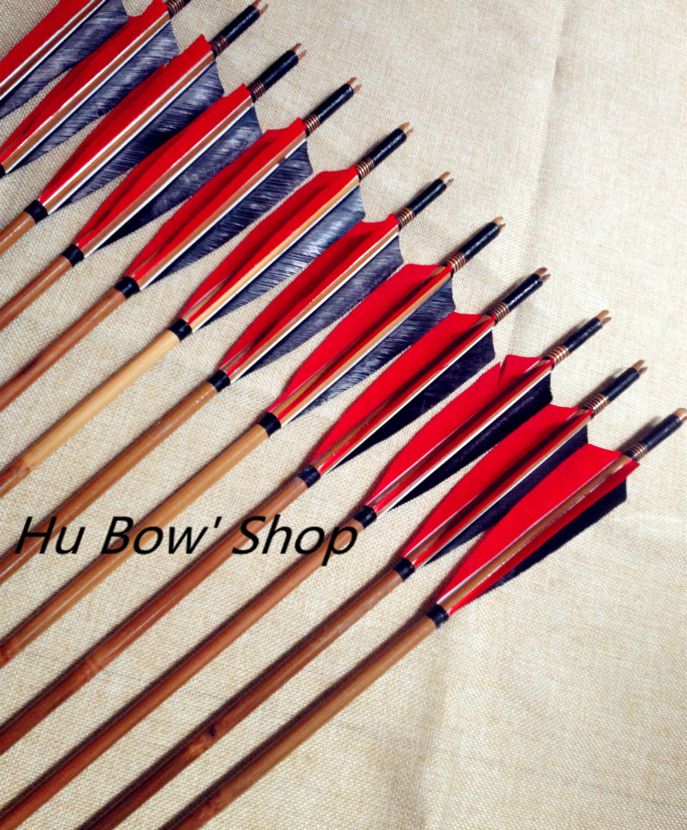 12PCS 32 bamboo arrows traditional archery arrows turkey feather steel points natural material