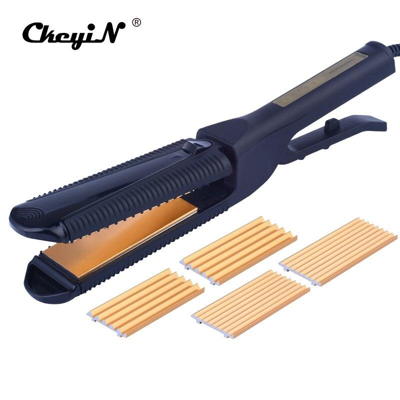 3 IN1 corrugado pelo alisado de hierro Utensilios para el pelo arrugador del pelo bigudíes Rizador profesional maíz pelo onda chapinha