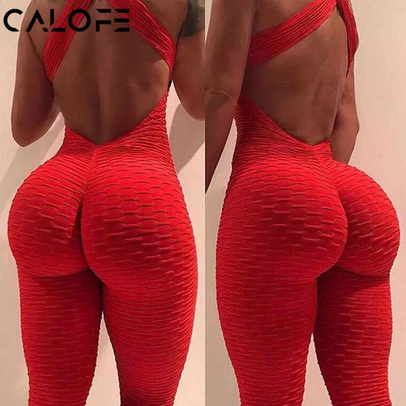 2019 Sexy Halter Women's Tracksuit Yoga High Waist Play suit Slim Sport Backless Top Running Sportswear Pants Push up Jumpsuit