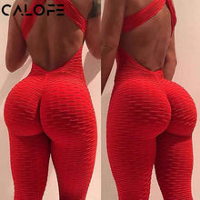 2019 Sexy Halter Women's Tracksuit Yoga High Waist Play suit Slim Sport Backless Top Running Sportswear Pants Push up Jumpsuit(China)