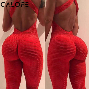 2020 Sexy Halter Women's Tracksuit Yoga High Waist Play suit Slim Sport Backless Top Running Sportswear Pants Push up Jumpsuit(China)
