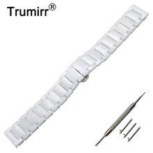 22mm correa de reloj de cerámica de liberación rápida + herramienta para Armani Fossil Diesel Timex mariposa hebilla Correa pulsera de muñeca negro blanco