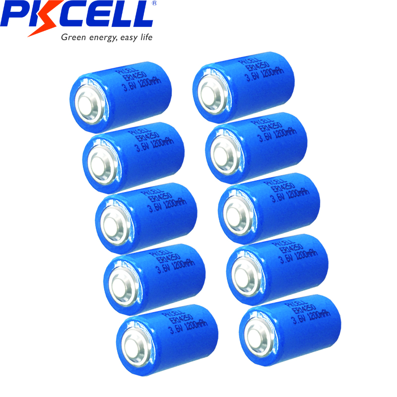 10PCS PKCELL ER 14250 <font><b>1</b></font>/<font><b>2</b></font> <font><b>AA</b></font> <font><b>battery</b></font> <font><b>3.6v</b></font> 1200MAH ER14250 <font><b>lithium</b></font> <font><b>batteries</b></font> replace for LS14250 primary <font><b>battery</b></font> for camera image