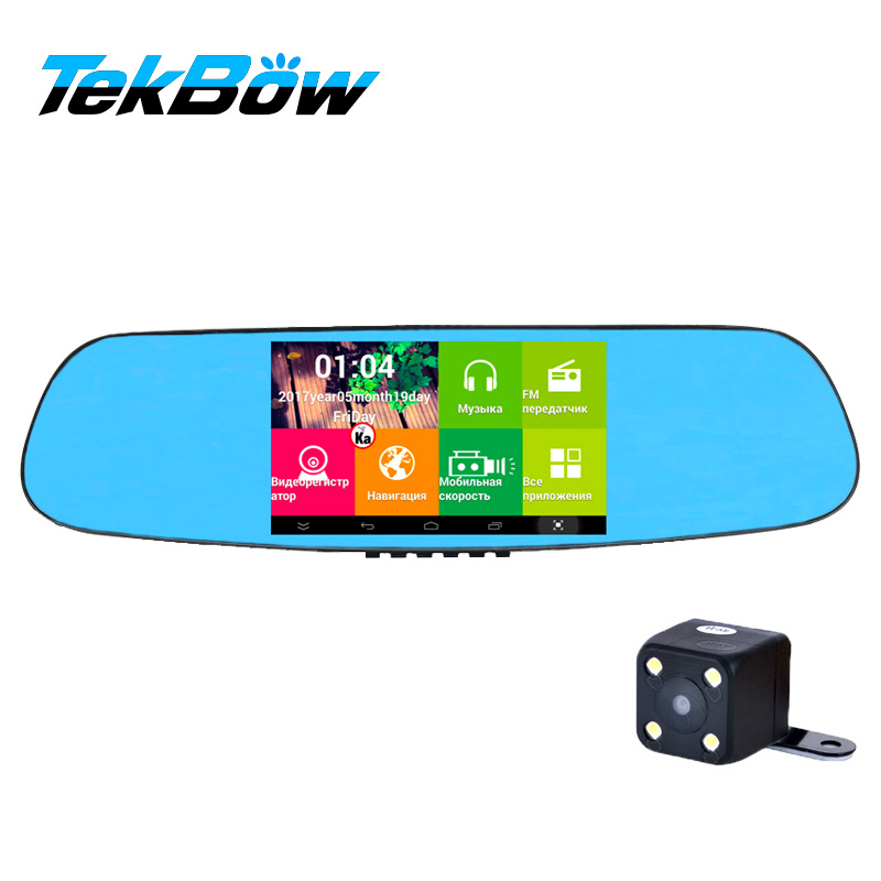 Tekbow 5 inch Touch Screen Car DVR 3 in 1 Radar Detector Dash cam Android Wifi Rearview Mirror Camera GPS Navigator Russian Maps 4 3 wince 5 0 gps navigator rearview mirror w av in fm 2gb us canada mexico maps tf card