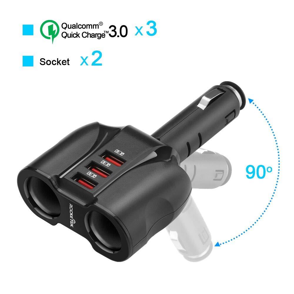 2 prises 3 ports QC 3.0 chargeur allume-cigare séparateur, 90 W 12 V/24 V DC prise Multi prise voiture allume-cigare adaptateur