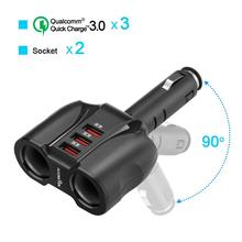 купить 2-Socket 3-Port QC 3.0 Car Charger Cigarette Lighter Splitter, 90W 12V/24V DC Outlet Multi Socket Car Cigarette Lighter Adapter онлайн