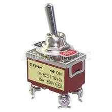 цена на 20PCS KN3C-201 ON OFF Medium Toggle Switch 12.2MM 15A 250VAC 4Pin DPST With Screw Terminal