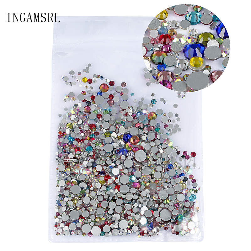 Mixed Size Rhinestones Crystal Glass AB SS3-SS30 Non Hot Fix FlatBack Strass  Sewing  Fabric 9ab87a1d792b