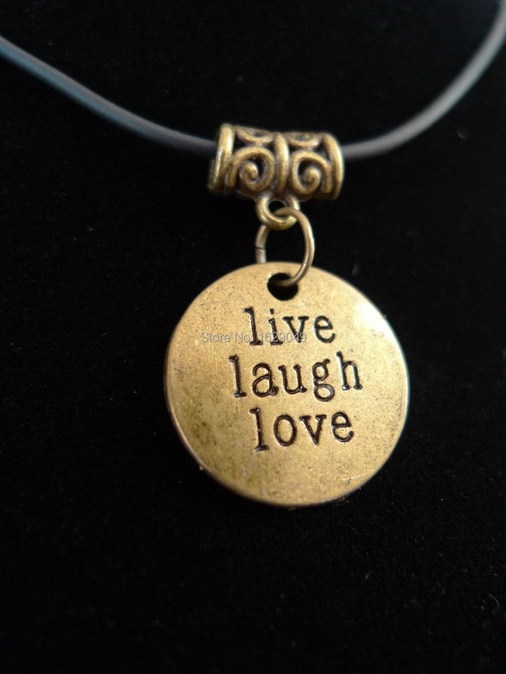 10PCS Fashion Vintage Alloy Bronze Tone <font><b>Live</b></font> Laugh <font><b>Love</b></font> <font><b>Enjoy</b></font> <font><b>Life</b></font> Necklace&Pendants Women Jewelry DIYX838