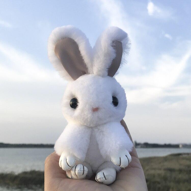 2018 New Rex Rabbit Fur Bag Pendant Rabbit Keychain Fashion pom pom keychain rabbit fur keychain Toy Doll rabbit keychain cat detail pom pom keychain