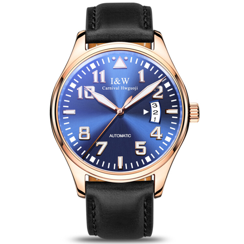 AAA Carnival Brand Men Pilot Watch Japan Miyota 24 Jewels Automatic Mechanical Clock Relogio Masculino