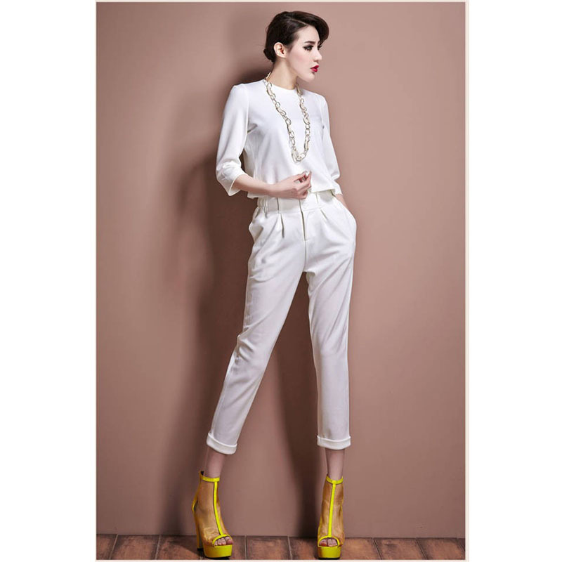 Elegant Pant Suits For Women New 2016 Fashion Solid Ladies Womens