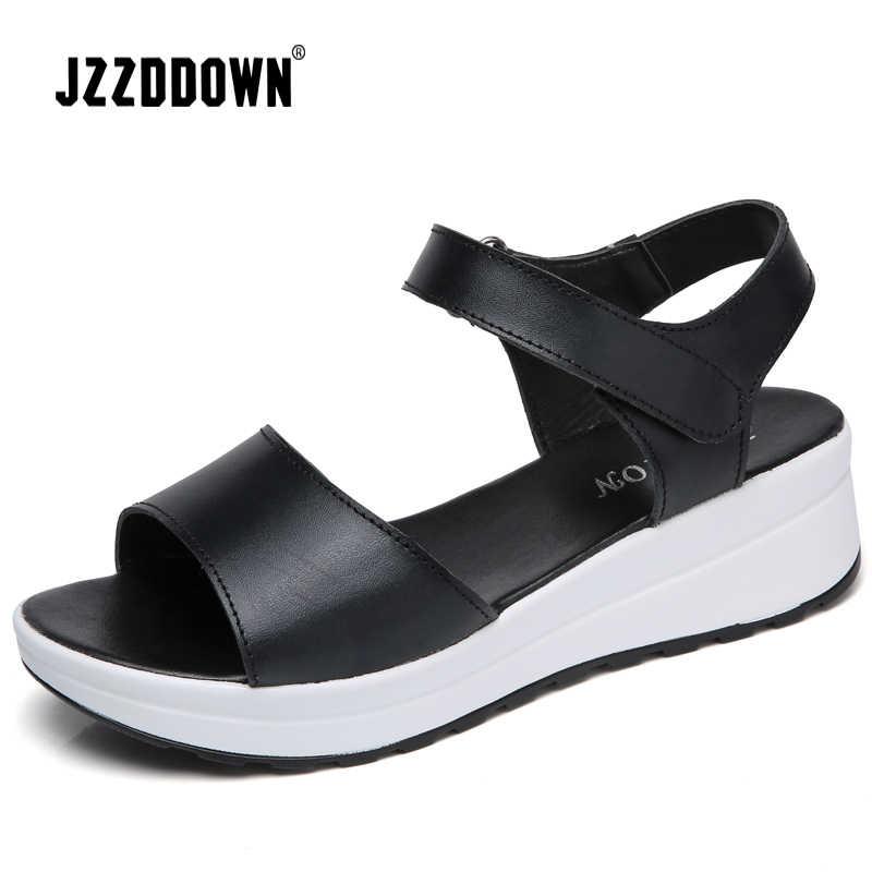 עור אמיתי נשים סנדלי נעלי פלטפורמת גבירותיי לבן סניקרס סנדלי נעל 2018 קיץ בוהן פתוח אופנה גבוהה העקב הנעלה