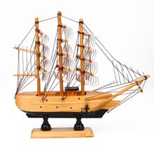 Nordic Wooden Sail Boat Model Craft Wood Ship Nautical Household Decoration Blue/Black Best gift la salamandre 1752 model ship wood