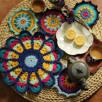Handmade Cotton Colorful Round Doily Cup Pads Crochet Table Mat Doilies Crochet Placemat Coasters Handmade Cup Mat