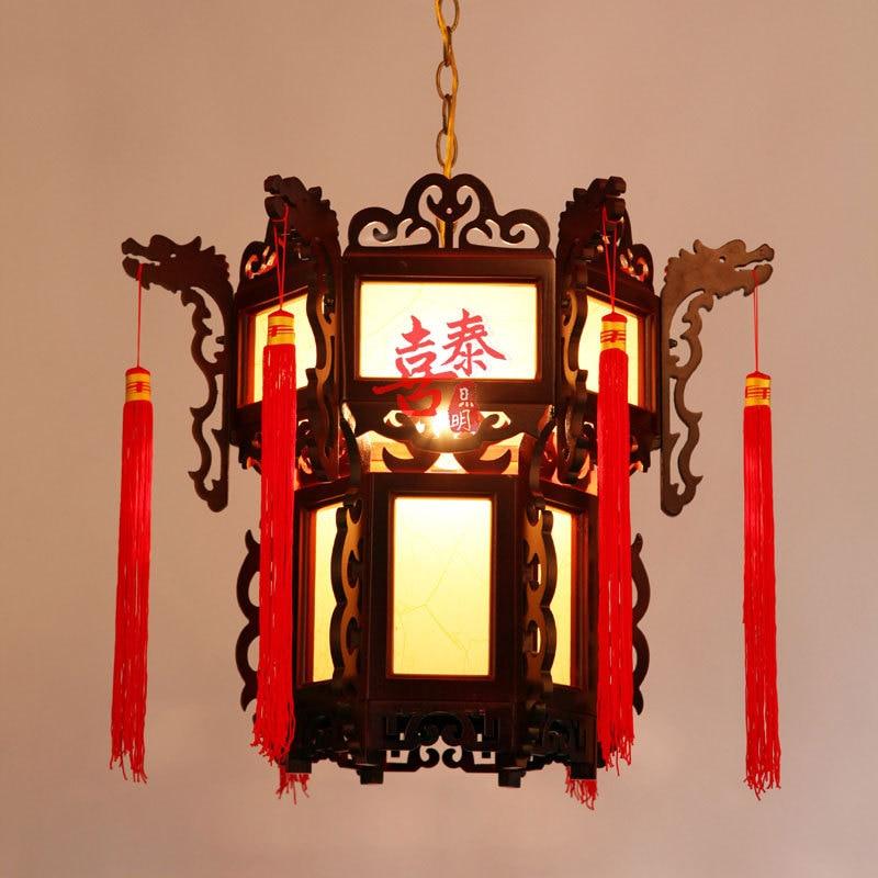 Hi Thai Antique Wood Wooden Lanterns Chinese Lanterns Red