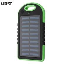 LEORY 5000 mAh Panel Solar Banco de la Energía Dual USB Batería Externa Power Pack Cargador Con Cable de Carga de 7 Colores Para El Teléfono Tablet
