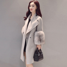 Зимние длинные шерстяные пальто куртка для Для женщин Рождество 2017 Для женщин Мех животных шерстяная куртка Верхняя одежда большой плюс Размеры casaco feminino
