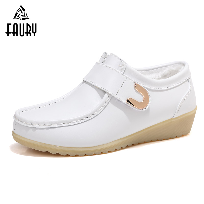 Soft Warm Winter Nurse Hospital Work Shoes Thick Single Shoes White Doctor Medical Shoes Non-slip Wedge Women Shoes