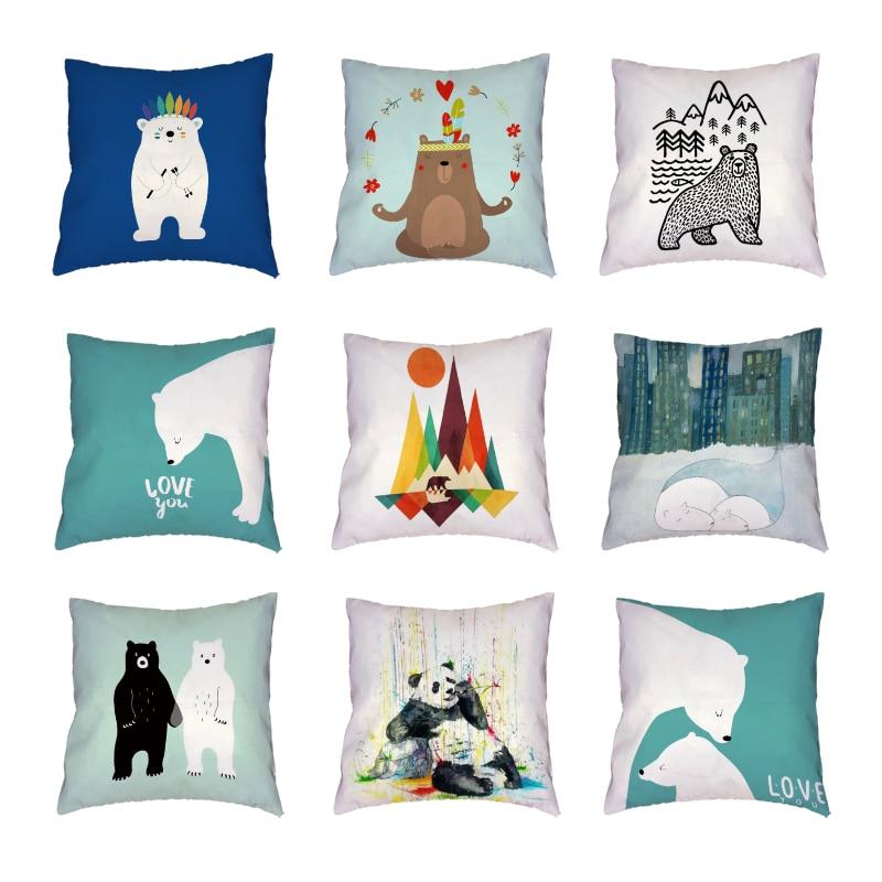 Stylish Stick Figure Bear White Cushion Cover Watercolour Panda Print Decor Happy Camper Polyester Peach Skin Throw Pillow Cases