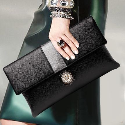 Gorgeous Colorful Diamond Tassel Genuine Leather Women Wallet Clutch Purse Evening bag Shoulder Handbag Crossbody Bag Wristlet - 5