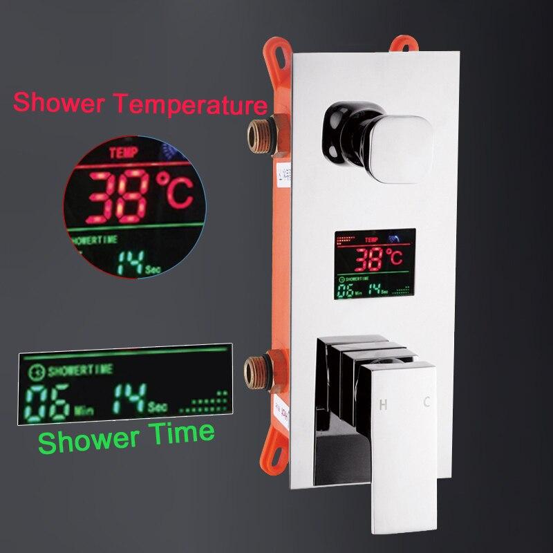 ULGKSD Bathroom Shower Faucet Waterfall Rain Shower Set Digital Single Handle Hot and Cold Water Mixer Tap Para Shower