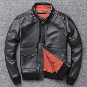 Image 2 - Frete grátis, jaqueta de couro genuíno masculina casual, jaqueta piloto de bombardeiro estilo a2. casaco de couro masculino. plus tamanho. atacado. qualidade