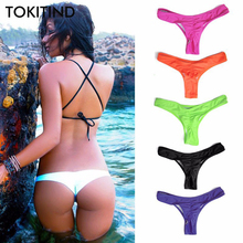 TOKITIND 2017 Cheeky Bottom Sexy Brazilian Mini Thong V Shape G-String Bikini Beach Underwear Swimwear Briefs Swimsuit Panties