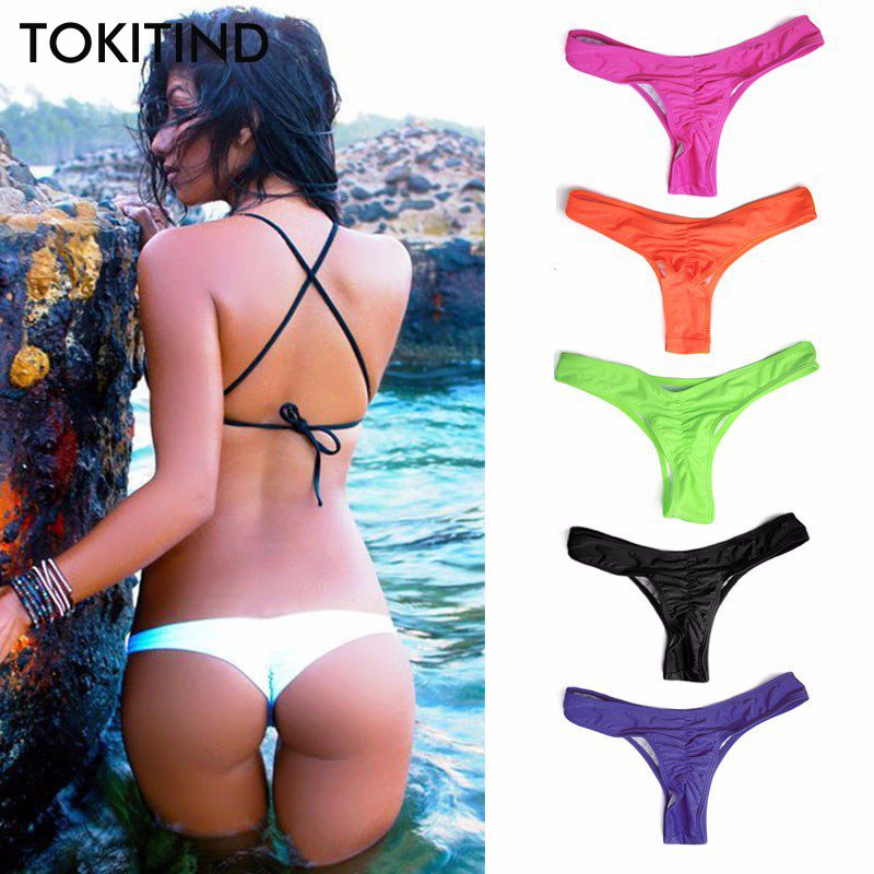 TOKITIND 2019 Cheeky Bottom <font><b>Sexy</b></font> <font><b>Brazilian</b></font> Mini Thong V Shape G-String <font><b>Bikini</b></font> Beach Underwear Swimwear Briefs Swimsuit Panties image