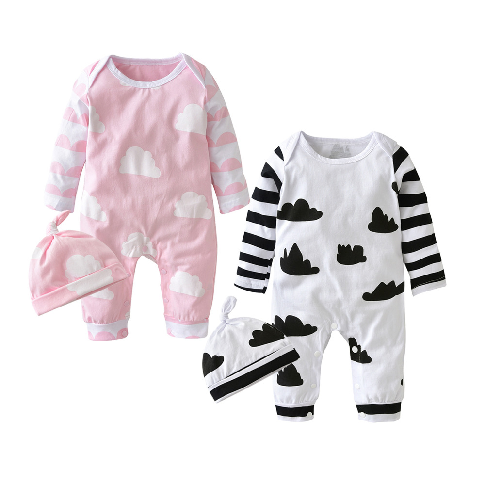 2019 New Fashion Baby Girl Clothes Cartoon Pink Cute Newborn Toddler Jumpsuit+hat 2 Pcs Baby Girl Clothing Infant Clothing Set