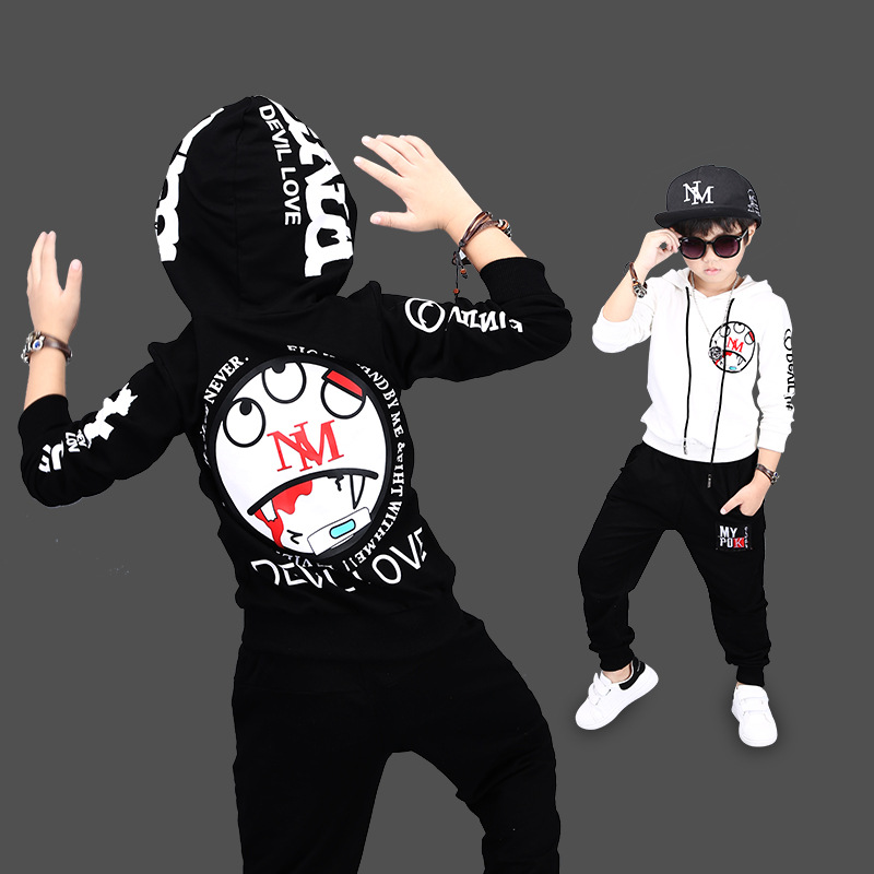 Fashion Boys Clothes Children Thicken Baby Clothing Sets Shirt Pant Print Kids Winter Fall Hip Hop Sports Set Clothes C042