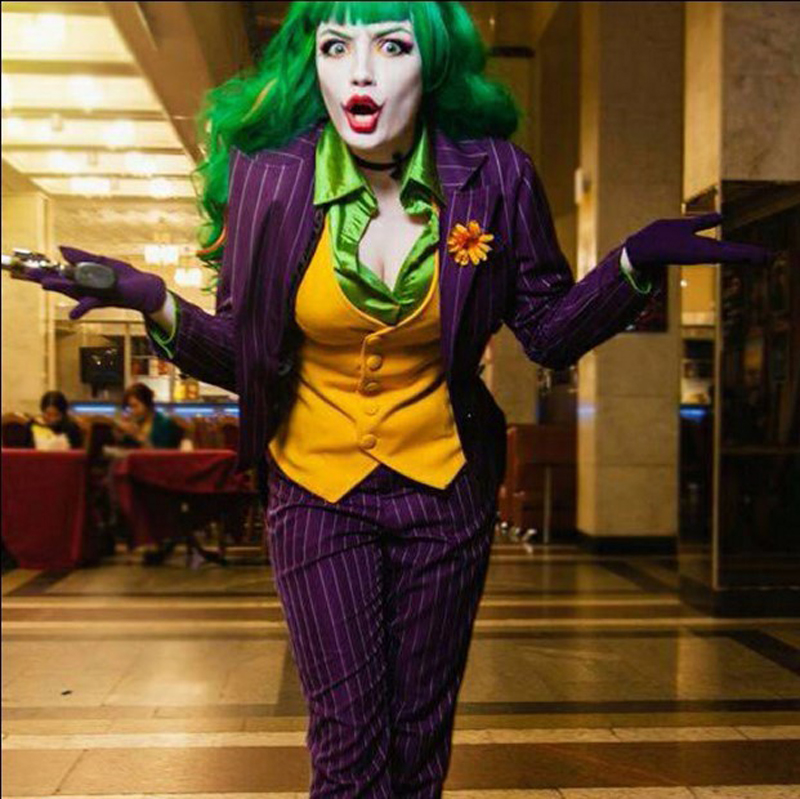 Female Batman Dark Knight Joker Cosplay Costume For Women Halloween Suicide Squad Costume With Full Set Custom Made Any Size