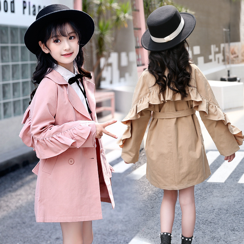 Trench Coat Girl Long Kids Teen Autumn Winter Girls Clothing Fall Kids Clothes Back To School Fashion Costume 7 8 9 10 12 Years цены