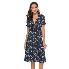купить Sexy summer chiffon print v-neck dress vintage elastic horn sleeve knot front elegant dress casual beach dress female vestidos по цене 618.78 рублей