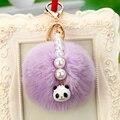 Fur Pompons Keychain 14 Color  Rabbit Fur Pom Poms Keychains Pearl Pompon Keyring Car/Bag Charm Fluffy Key Chain Porte Clef Gift
