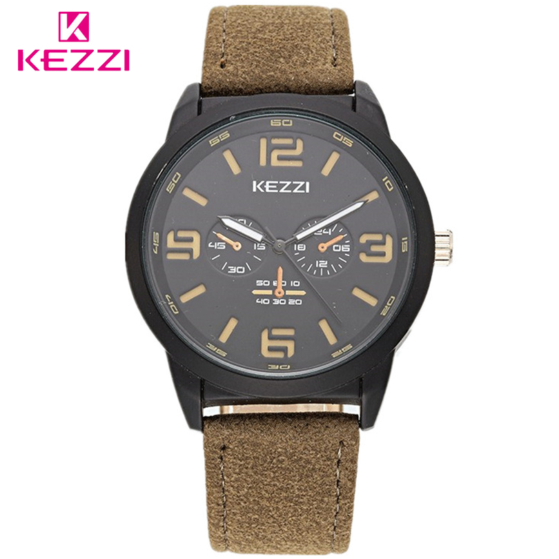 KEZZI Business Quartz watch Men sport Military Watches Mens Leather Strap Army wristwatch Man Fashion Popular Student Gift Clock 2016 hot sell sinobi brand leather strap watch for mens man fashion style quartz military waterproof wristwatch wholesale