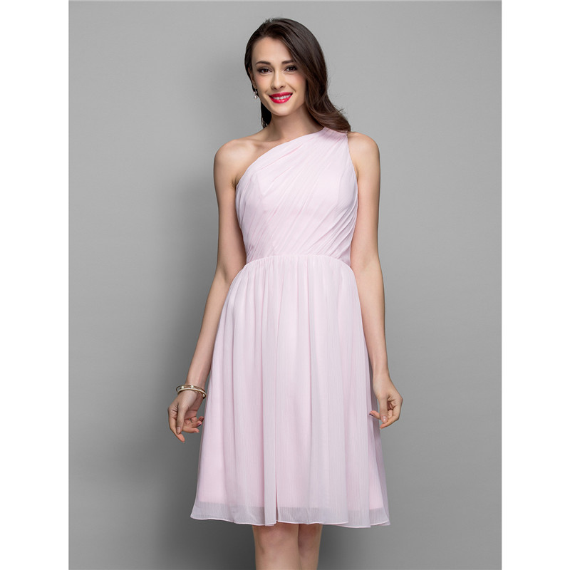 TS Couture A-Line Fit & Flare One Shoulder Knee Length Chiffon Cocktail Party Homecoming Holiday Dress with Side Draping