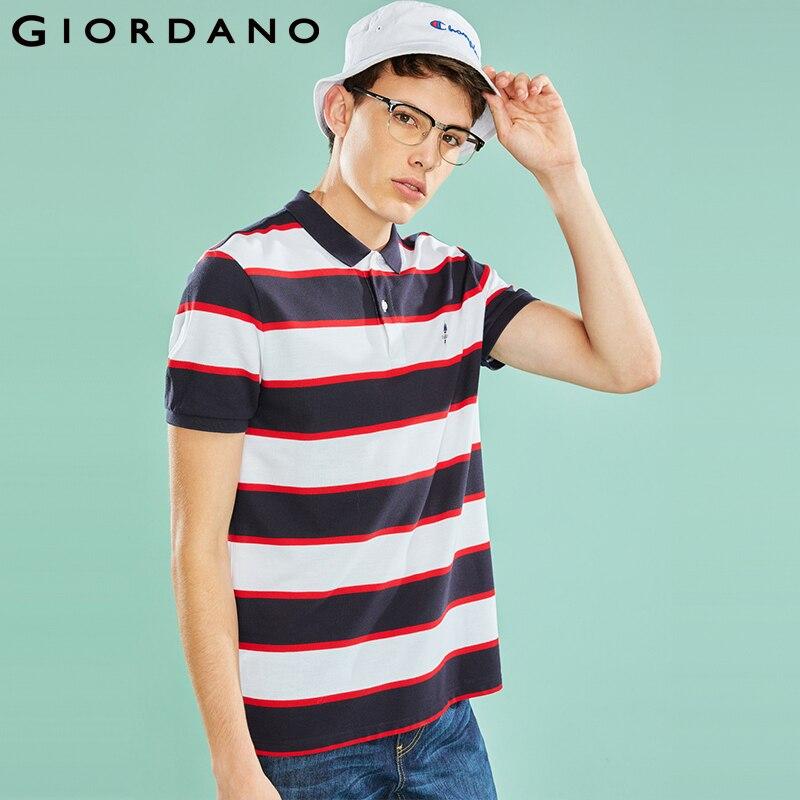 Giordano Men   Polo   Shirt Men Embroidered Pattern Slim Fitting Striped   Polo   Men Shirt Fashion Brand   Polo   Homme