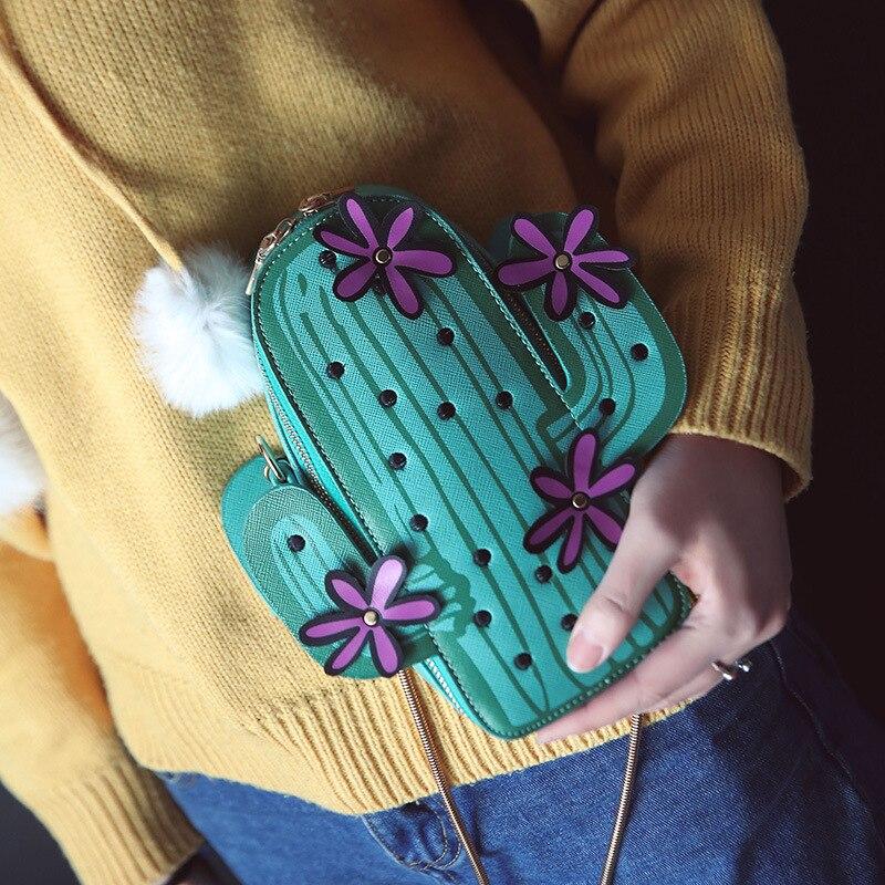 Для женщин вышивка цветы мини цепь сумка мило Зеленый Кактус мешок формы клапаном Малый Desinger Crossbody сумка для Для женщин