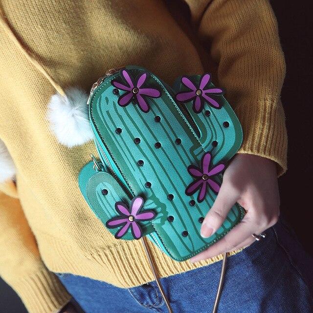 Women embroidery flowers mini chain shoulder bag cute green cactus shape bag flap small desinger crossbody bag for women